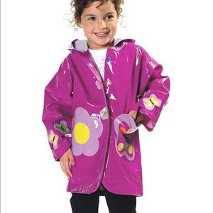 Kidorable Purple Butterfly PU Raincoat Girls